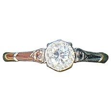 Art Deco 18ct Gold & Platinum 0.25ct Diamond Solitaire Ring - size 7.5 US