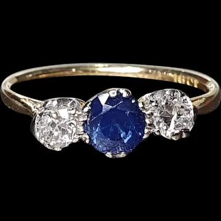 Art Deco 1920s Sapphire & Diamond 1ct Trilogy Ring 18ct Gold - size 8.25