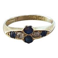 Edwardian 1907 Rose Cut Sapphire Diamond 18ct Gold Ring - Size 7.5