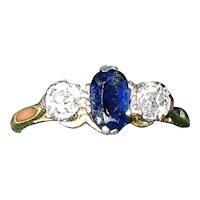 1930s Art Deco Sapphire & Diamond 18ct Gold Trilogy Ring - Size 6.5