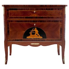 Inlayed antique chest of drawers, Northern Europe, early 20th century.