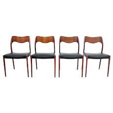 A set of four chairs, Niels O. Møller, Denmark, 1960s