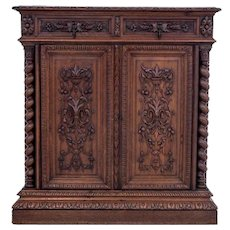 Oak hunting chest of drawers, France, circa 1890.