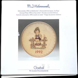 """Hummel Goeble 1992 """"wayside harmony"""" Plate"""
