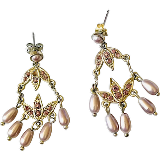 Monet gold tone costume dangle  earrings with purple stones