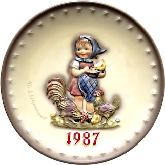 """Hummel Goebel 1987 """"feeding time"""" Annual collectible plate"""