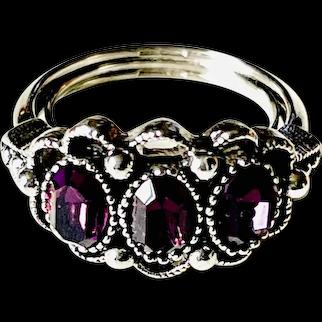 Avon vintage silver tone with purple rhinestone ring