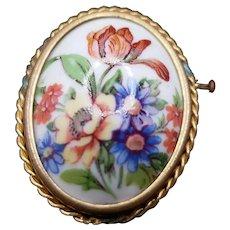 Limoges Floral Trombone Catch Brooch