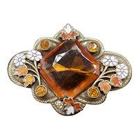 Enamel & Amber Glass Stamped Metal Pin