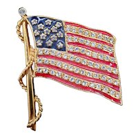 JBK Enamel and Crystal Old Glory Pin