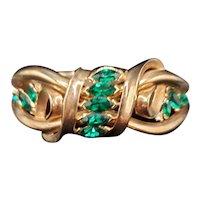 Trifari Emerald Green Color Navette Clamper Bracelet
