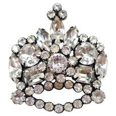 Weiss Rhinestone Crown Brooch - Beautiful!