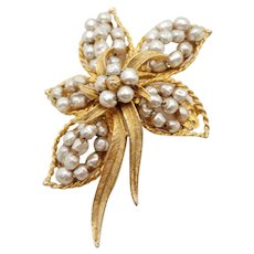 Judith McCann Faux Baroque Pearl Goldtone Brooch