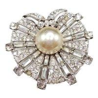 Crown Trifari Sterling Dress or Fur Clip