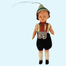 Vintage German Bavaria Celluloid Boy Ornament Octoberfest Clothing Lederhosen