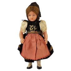 """Vintage Schildkrot Celluloid German Girl Doll with Turtle Mark 5 3/4"""" Tall"""