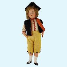 """Vintage German Celluloid Boy Doll Felt Clothes 8"""" Tall"""