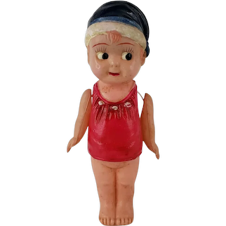 """Vintage Celluloid Kewpie Girl Doll String Jointed Arms Made in Japan 5"""" Tall"""