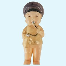 """Antique Celluloid Baby Boy Wearing Hat Rattle Doll 4"""" Tall Vintage"""