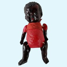 """Antique Celluloid Jointed Doll Black Americana African American 4"""" Vintage"""