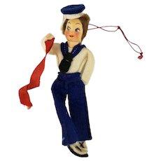 "Antique Navig Italia Italy Felt Sailor Doll 5"" Long"