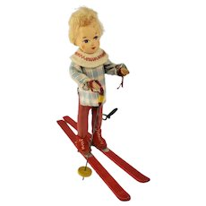 """Antique Doll Skier Skiing 4.5"""" Tall Cloth Face & Hands Christmas Ornament?"""