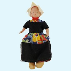 """Vintage Celluloid Dutch Girl Doll Wooden Clogs Clothing 4"""" Tall"""