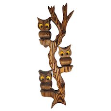 Vintage 1970s 3 Night Owls Family Tree Carved Wood Wall Hanging Decor Retro MCM