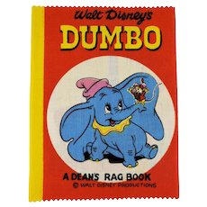 Vintage 1961 Disney Productions DUMBO Dean's Rag Children's Cloth Book New Old Stock