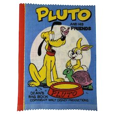 Vintage 1960's Disney Pluto and His Friends Dean's Rag Children's Cloth Book New Old Stock