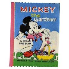 Vintage 1961 Disney MICKEY the Gardener Dean's Rag Children's Cloth Book New Old Stock