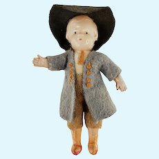 "Vintage Celluloid Boy Doll with Felt Clothes Jacket Hat Japan 4.5"" Tall"