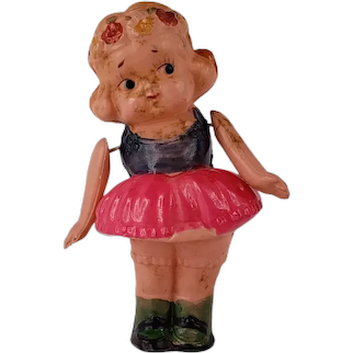 """Vintage Plastic Girl Doll String Jointed Arms Japan 3.5"""" Tall"""