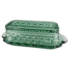 Vintage Anchor Hocking Wexford Green Pressed Glass Diamond Cut BUTTER Dish MCM