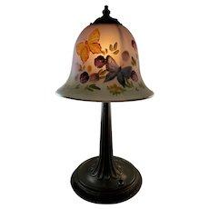 Fenton Satin Glass, Reverse Painted, signed lamp shade and original lamp base