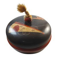 Vintage red black lacquer ware with hand painted origami decoration
