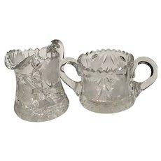 American Brilliant Cut Glass Cream and Sugar Bowls