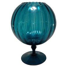 Mid Century Modern Teal Blown Glass Pedestal Vase