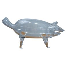 Antique Blown Glass Pig Form Decanter