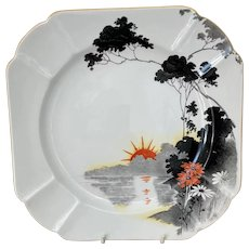Shelley Sunset and Flowers Plate c1928