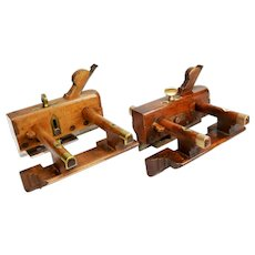 Pair 19th Century Woodworkers Plough (Plow) Planes, English, super examples