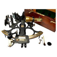 """Vintage British Hughes & Son 6"""" radius sextant with case and accessories, 1940s"""