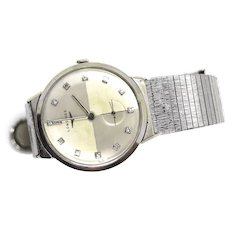 Vintage Late 1950s Longines Rajah 14k white gold Mens Watch with 14 diamond Face. Likely a 22L movement.