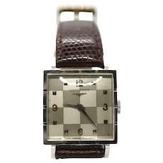 Longines Square Checkered 14k White Gold Watch. 1953.