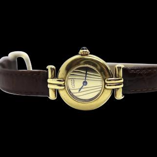 Vintage Must de Cartier Watch. Round Vermeil Ardent 925 Quartz wrist watch