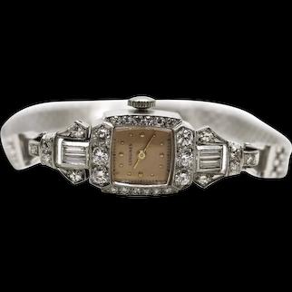 Longines Diamond 1.43ctw wristwatch. Platinum case with 14k white gold band. Manual Windup. Art deco ladies