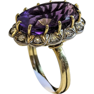 Vintage 1940s Large Amethyst and Diamond Handmade 18k Yellow White Gold Ring sz 6.5, Engagement ring, cocktail ring