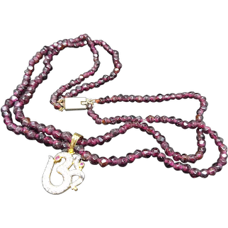 Antique 18k Gold and Diamond / Ruby OHM Omkara pendant with Two-strand Garnet Necklace. OM Necklace. Hindu jewelry