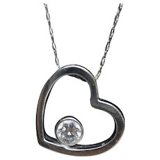 18k Open Heart 0.21ct Diamond Solitaire pendant. 14k 20in thin necklace. Bezel Diamond pendant