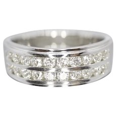 14k Double Row Diamond Wedding Band. Mens LEO diamond channel ring 0.96ctw CERTIFIED. Comfort fit.